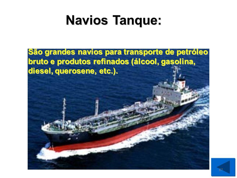 Navios Tanque: São grandes navios para transporte de petróleo bruto e produtos refinados (álcool, gasolina, diesel, querosene, etc.).