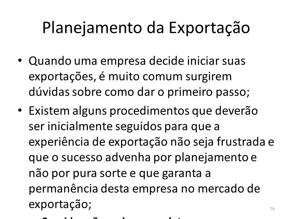 Planejamento da Exportação
