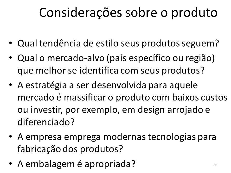 Considerações sobre o produto