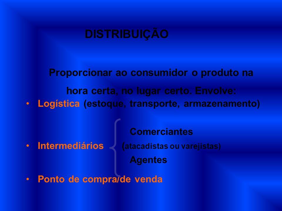 DISTRIBUIÇÃO Proporcionar ao consumidor o produto na
