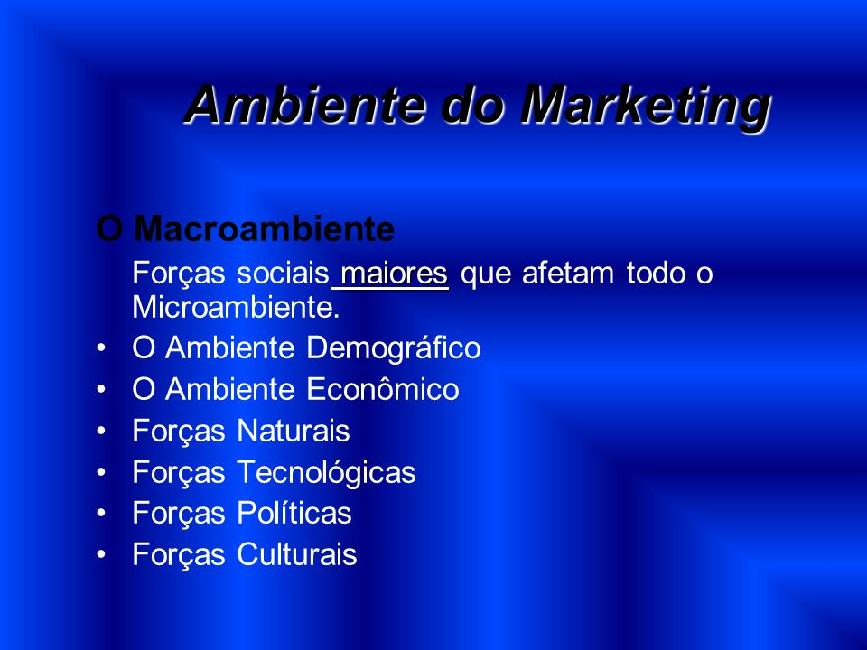 Ambiente do Marketing O Macroambiente