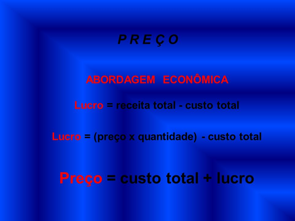 Preço = custo total + lucro