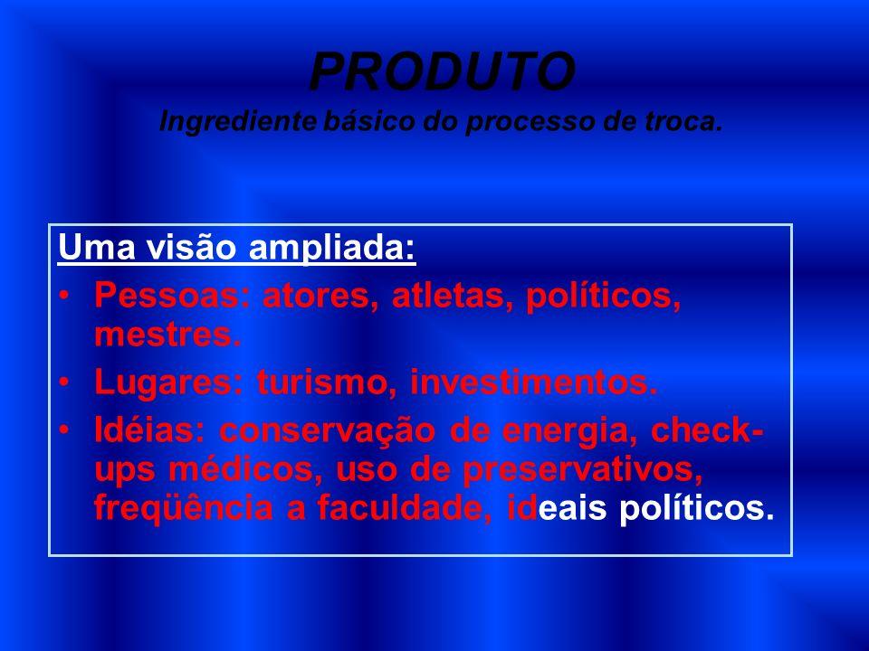 PRODUTO Ingrediente básico do processo de troca.