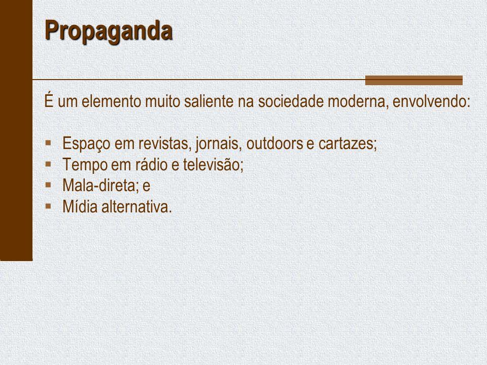 Propaganda É um elemento muito saliente na sociedade moderna, envolvendo: Espaço em revistas, jornais, outdoors e cartazes;