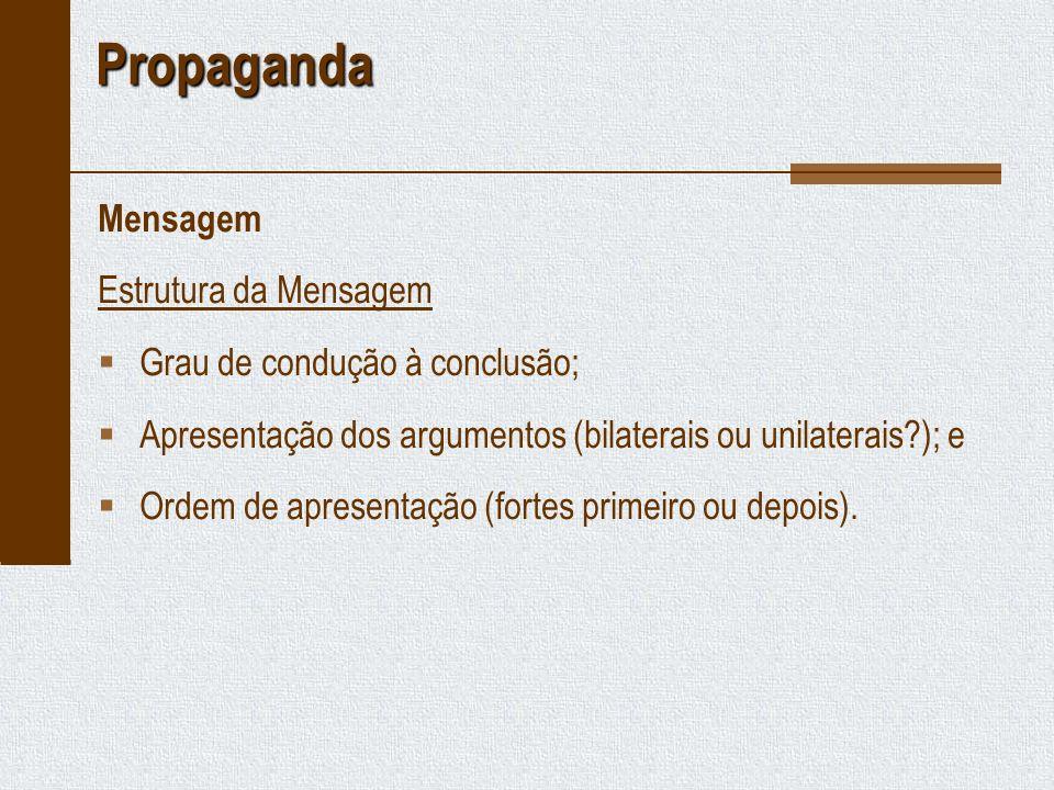 Propaganda Mensagem Estrutura da Mensagem