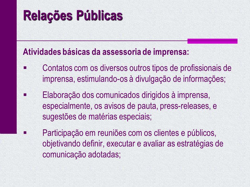 Relações Públicas Atividades básicas da assessoria de imprensa: