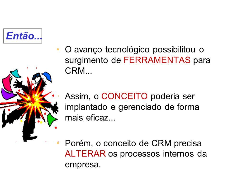 Então... O avanço tecnológico possibilitou o surgimento de FERRAMENTAS para CRM...
