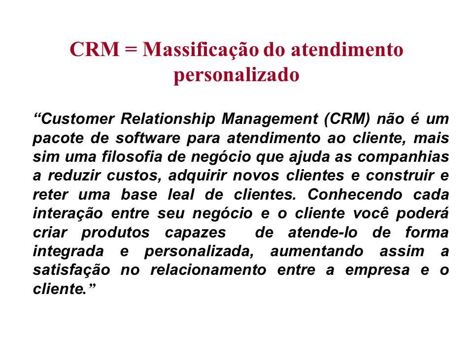 CRM = Massificação do atendimento personalizado