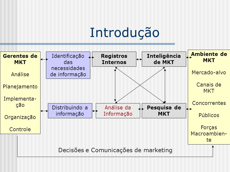 Introdução Decisões e Comunicações de marketing Ambiente de MKT