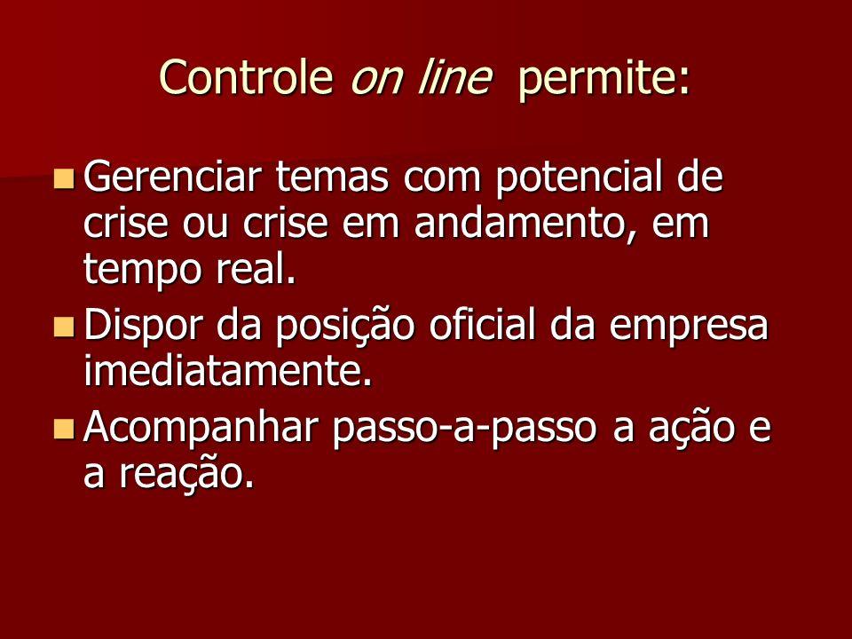 Controle on line permite: