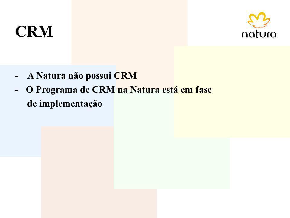 CRM - A Natura não possui CRM O Programa de CRM na Natura está em fase