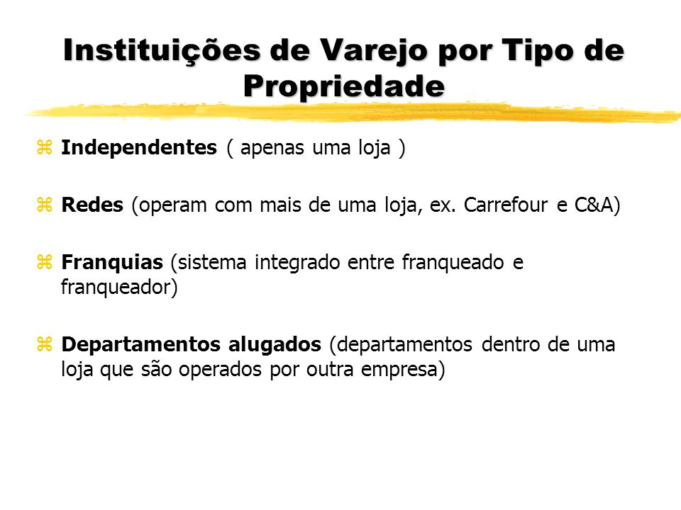 Instituições de Varejo por Tipo de Propriedade