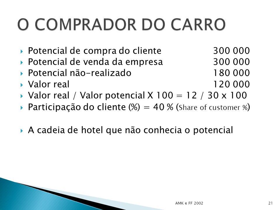O COMPRADOR DO CARRO Potencial de compra do cliente 300 000