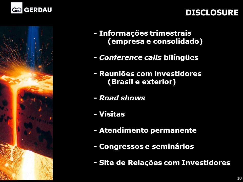 DISCLOSURE - Informações trimestrais (empresa e consolidado)