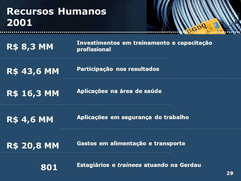 Recursos Humanos 2001 R$ 8,3 MM R$ 43,6 MM R$ 16,3 MM R$ 4,6 MM