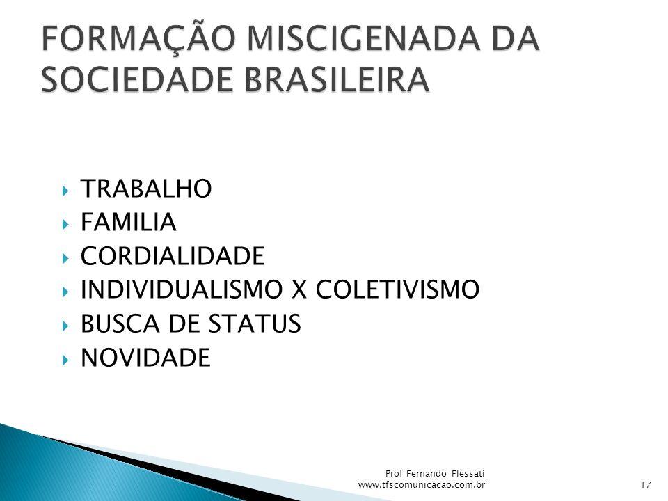 FORMAÇÃO MISCIGENADA DA SOCIEDADE BRASILEIRA