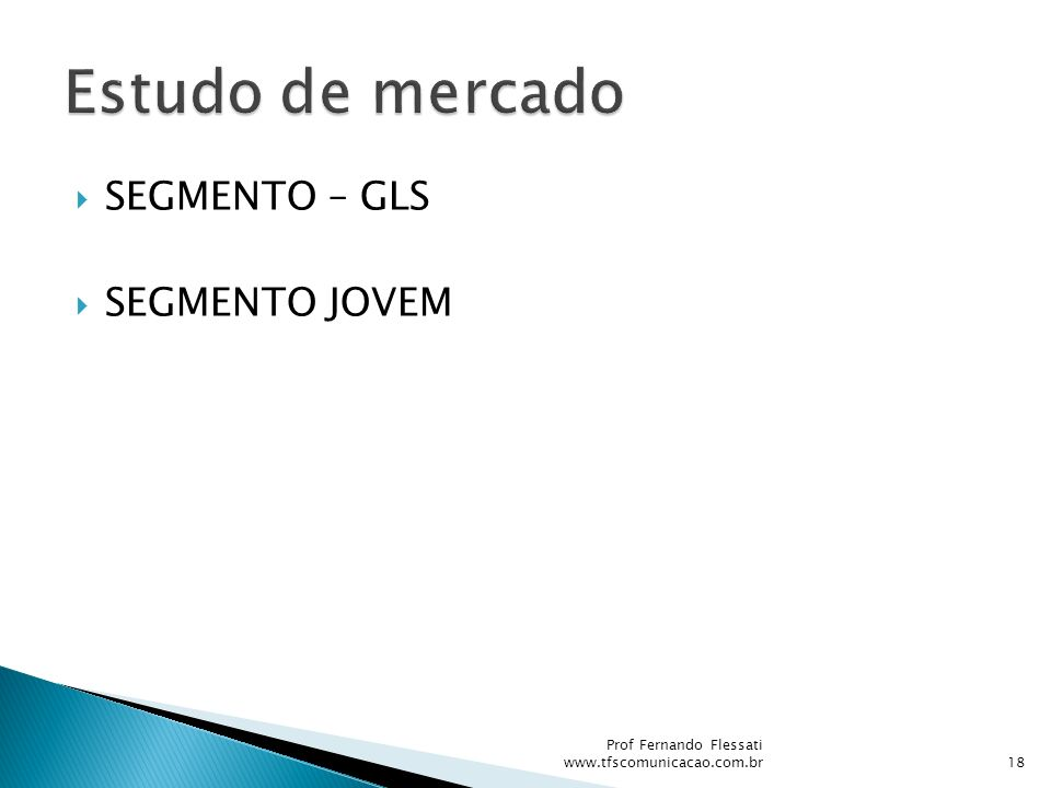 Estudo de mercado SEGMENTO – GLS SEGMENTO JOVEM