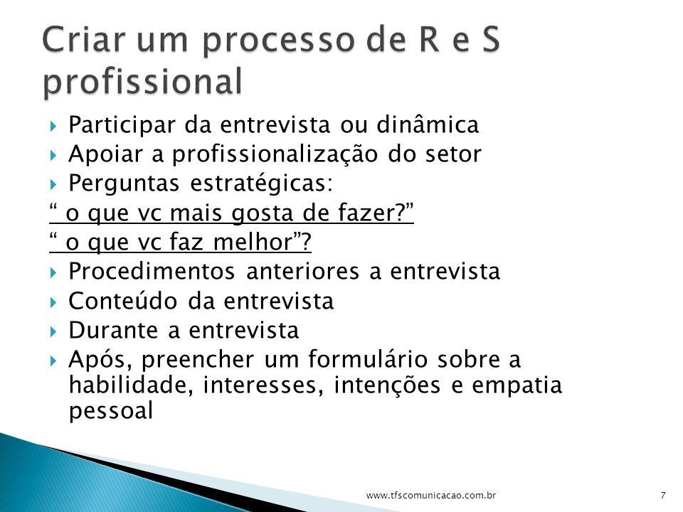 Criar um processo de R e S profissional