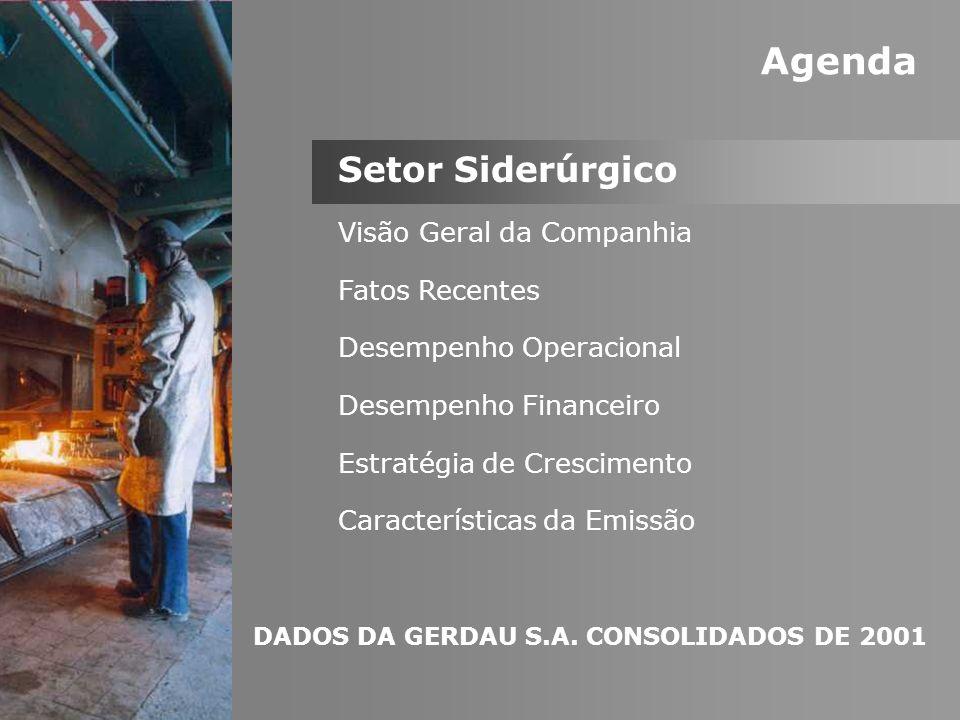 Agenda Setor Siderúrgico Visão Geral da Companhia Fatos Recentes