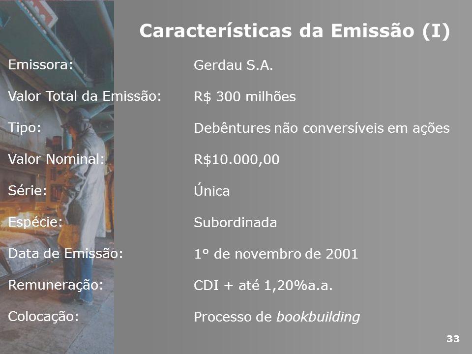 Características da Emissão (I)