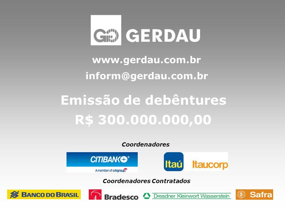 Emissão de debêntures R$ 300.000.000,00