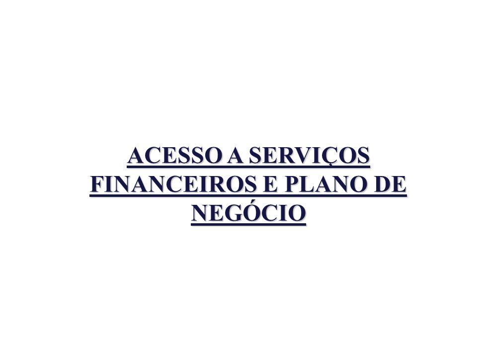 ACESSO A SERVIÇOS FINANCEIROS E PLANO DE NEGÓCIO