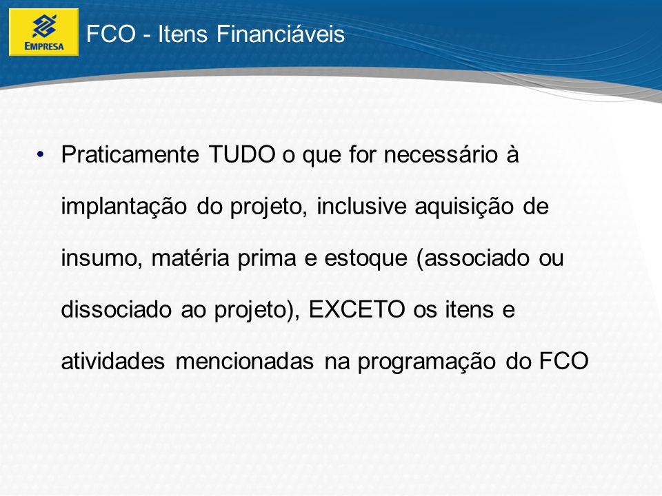 FCO - Itens Financiáveis