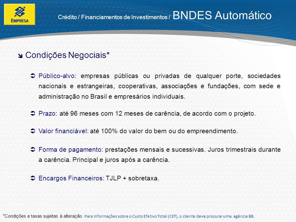 Crédito / Financiamentos de Investimentos / BNDES Automático