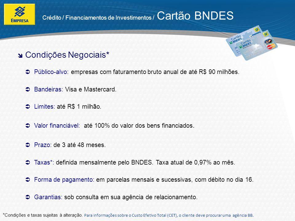 Crédito / Financiamentos de Investimentos / Cartão BNDES