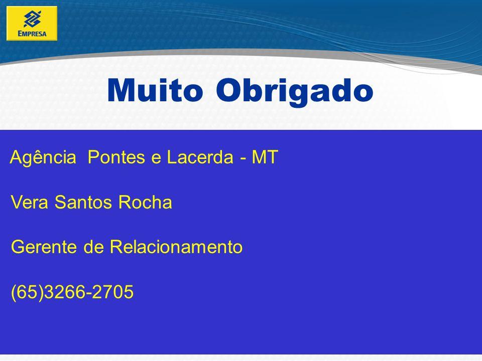 Muito Obrigado Agência Pontes e Lacerda - MT Vera Santos Rocha Gerente de Relacionamento (65)3266-2705.