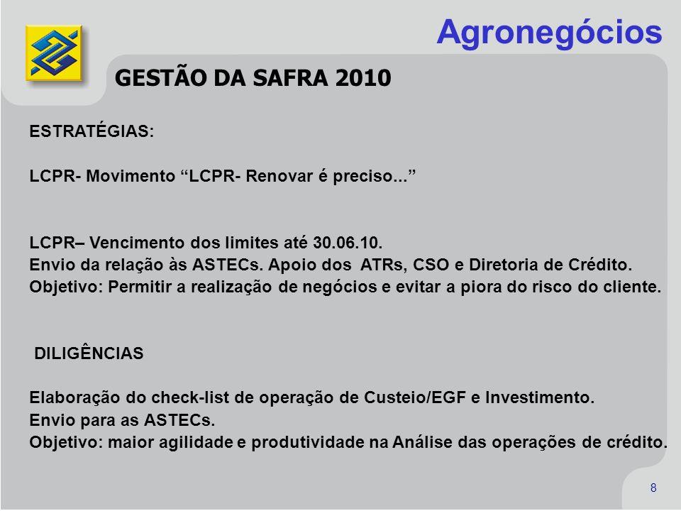 Agronegócios GESTÃO DA SAFRA 2010 ESTRATÉGIAS: