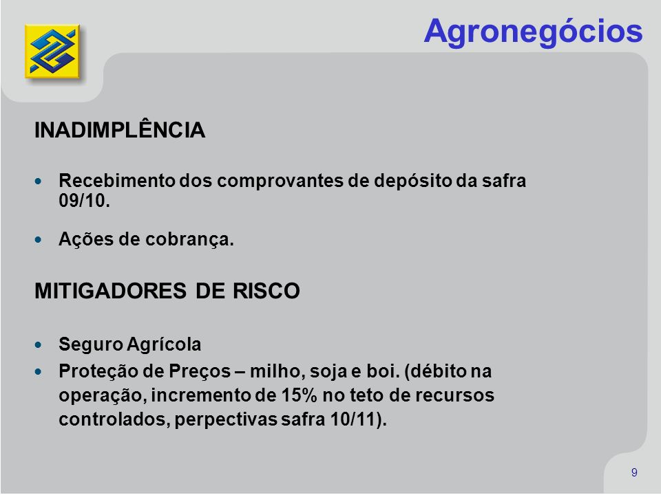 Agronegócios INADIMPLÊNCIA MITIGADORES DE RISCO