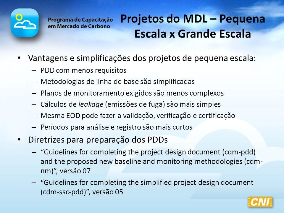 Projetos do MDL – Pequena Escala x Grande Escala
