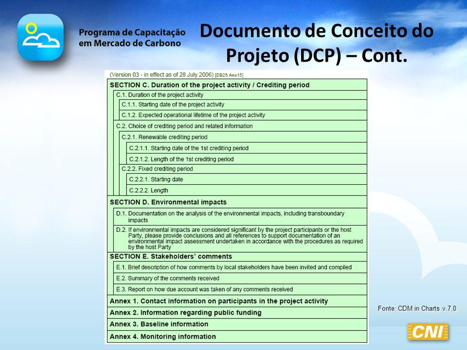 Documento de Conceito do Projeto (DCP) – Cont.