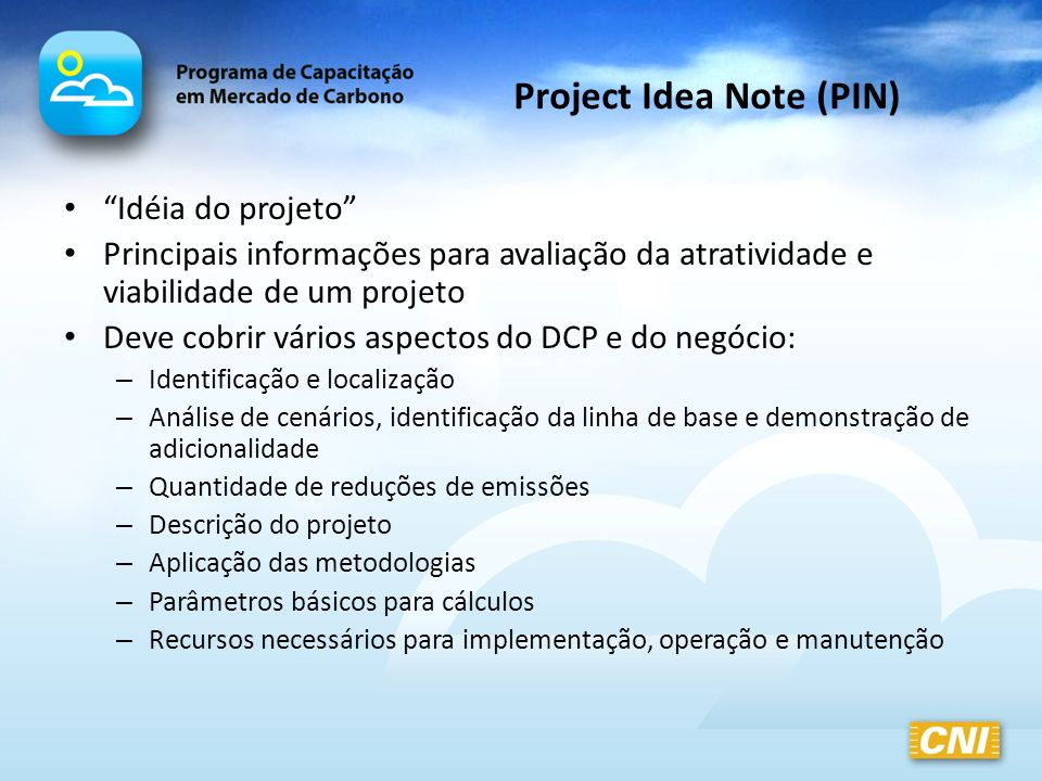 Project Idea Note (PIN)