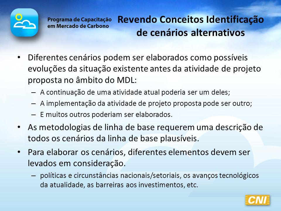 Revendo Conceitos Identificação de cenários alternativos