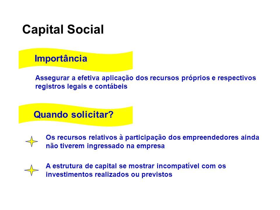 Capital Social Importância Quando solicitar