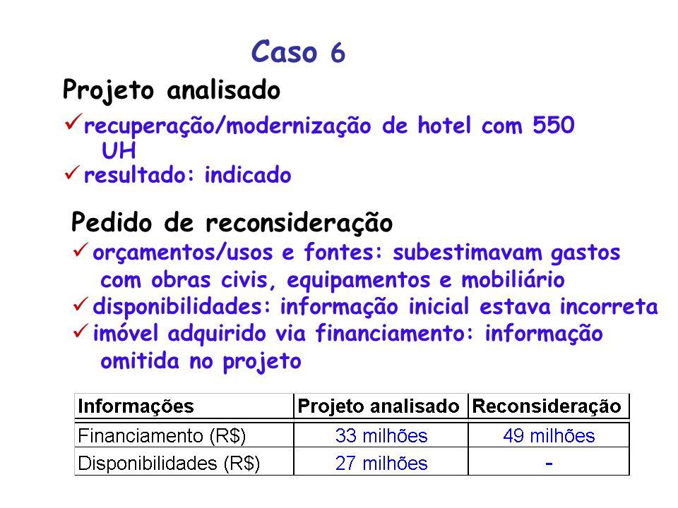 Caso 6 Projeto analisado recuperação/modernização de hotel com 550