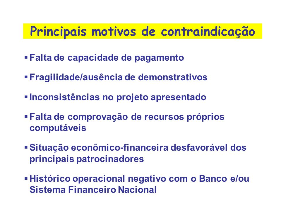 Principais motivos de contraindicação