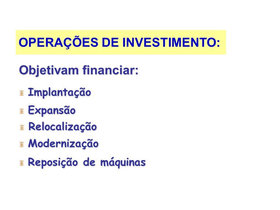 OPERAÇÕES DE INVESTIMENTO: