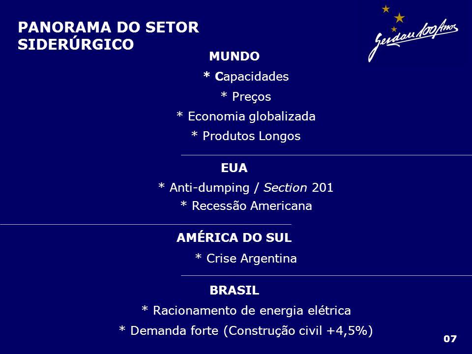 PANORAMA DO SETOR SIDERÚRGICO