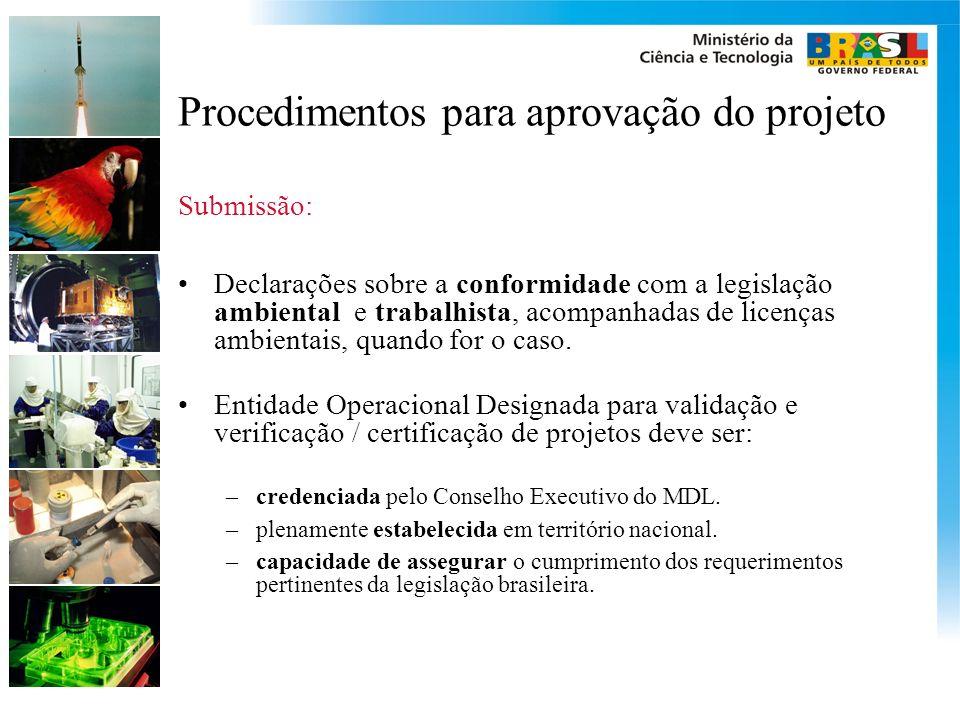 Procedimentos para aprovação do projeto