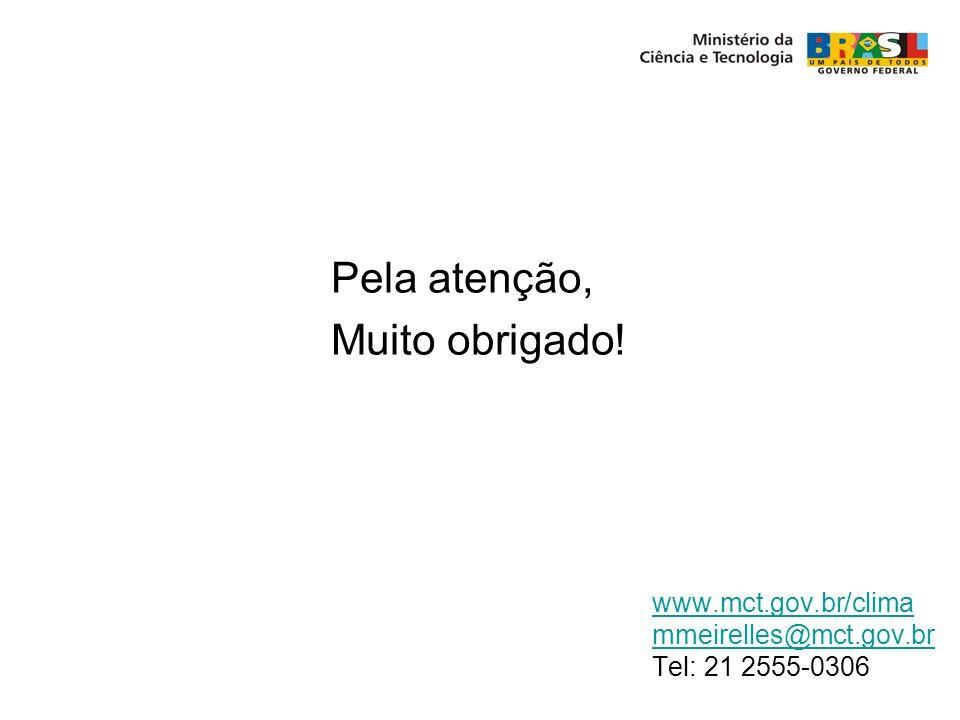 Pela atenção, Muito obrigado! www.mct.gov.br/clima