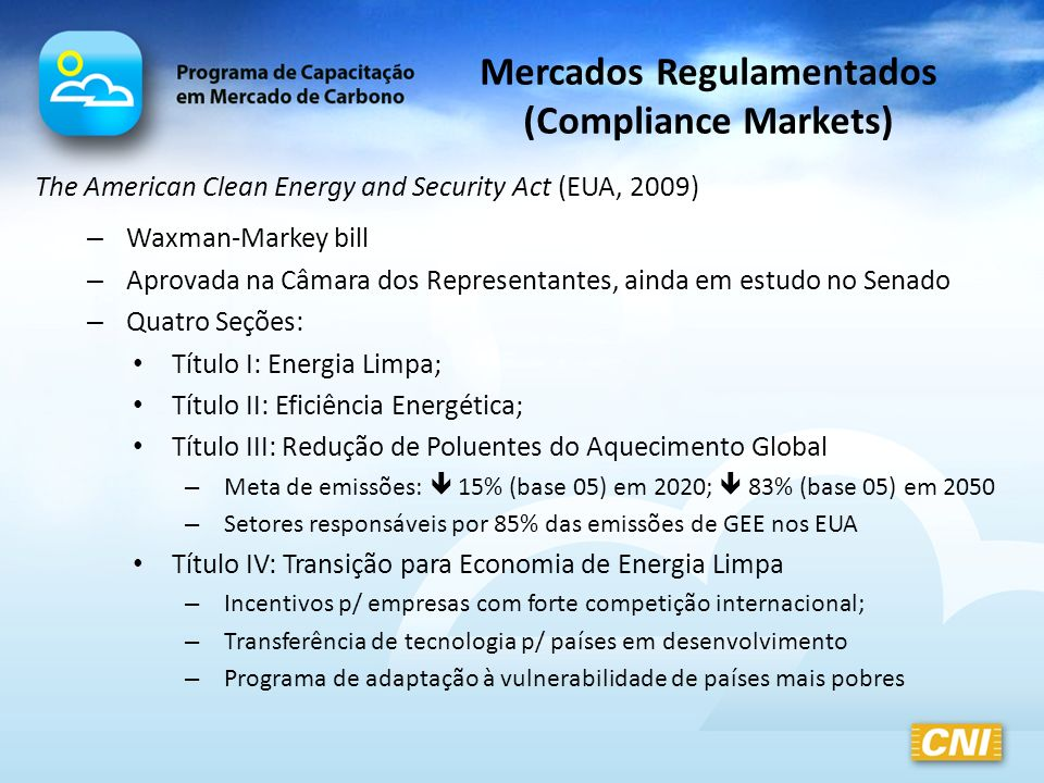 Mercados Regulamentados (Compliance Markets)