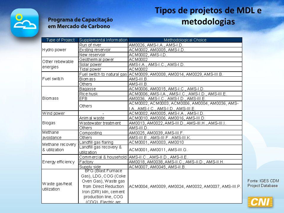 Tipos de projetos de MDL e metodologias