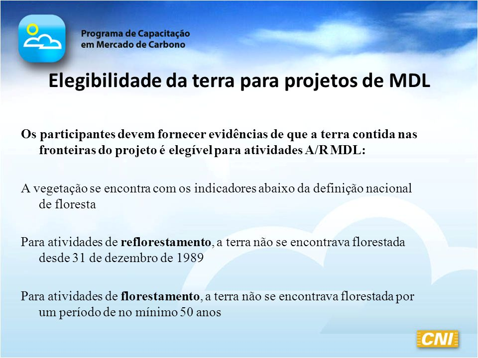Elegibilidade da terra para projetos de MDL