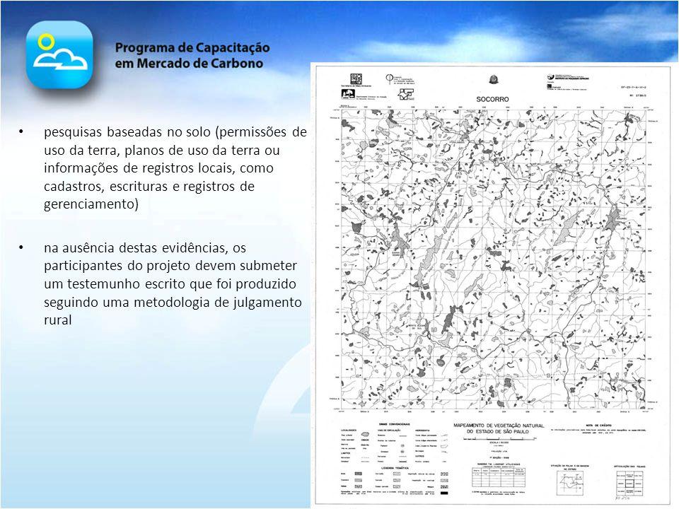 pesquisas baseadas no solo (permissões de uso da terra, planos de uso da terra ou informações de registros locais, como cadastros, escrituras e registros de gerenciamento)