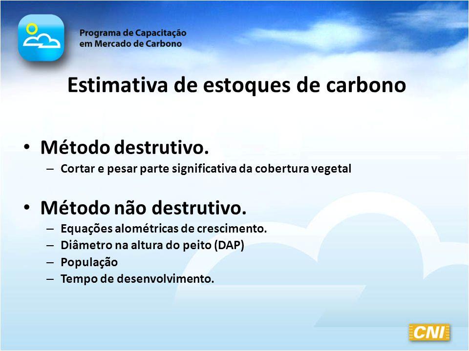 Estimativa de estoques de carbono