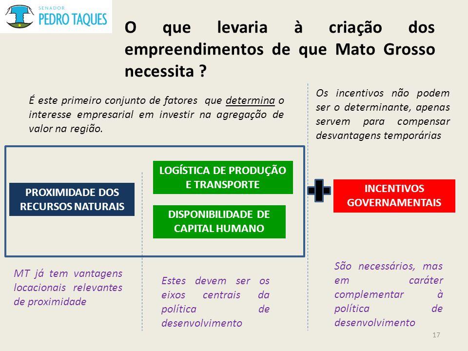 O que levaria à criação dos empreendimentos de que Mato Grosso necessita