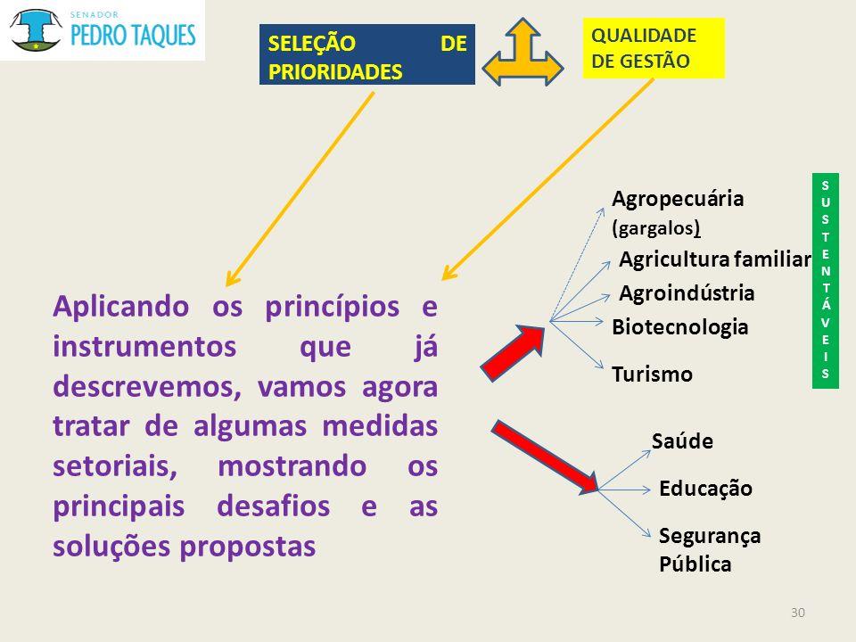 QUALIDADE DE GESTÃO SELEÇÃO DE PRIORIDADES. SUSTENTÁVEIS. Agropecuária (gargalos) Agricultura familiar.